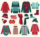 Winter clothes cozy collection Royalty Free Stock Image