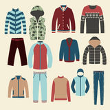 Winter clothes Group of Objects-illustration Stock Photography
