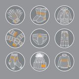 Winter clothes icon set Stock Photos