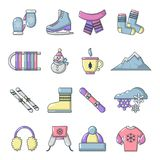 Winter clothes icons set, cartoon style. Winter clothes icons set. Cartoon illustration of 16 winter clothes vector icons for web Stock Photo