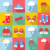 Winter clothes icons set, flat style Royalty Free Stock Photo