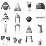 Winter clothes icons set, gray monochrome style Royalty Free Stock Image