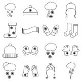 Winter clothes icons set, outline style Stock Images