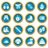 Winter clothes icons set, simple style. Winter clothes icons set. Simple illustration of 16 winter clothes vector icons for web stock illustration