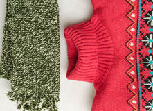 Winter clothes intensely colored wool. Neckcloth and sweater Stock Photo