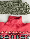 Winter clothes intensely colored wool. Neckcloth and sweater Royalty Free Stock Image