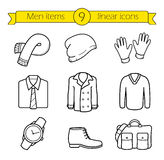 Winter clothes linear icons set Stock Photo