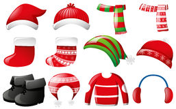 Winter clothes in red and green color. Illustration Stock Image