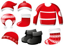 Winter clothes in red. Illustration Royalty Free Stock Photography