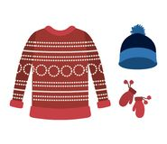 Winter clothes with red wool sweater and blue wool cap and wool gloves over white background. Vector illustration Royalty Free Stock Images
