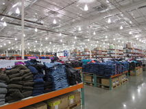 Winter clothes for sale. Interior of a very big super market of America stock image