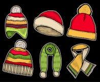 Santa stocking cap and Scarfs. Stock Photography