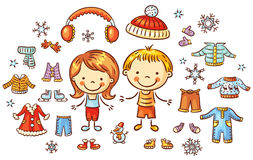 Winter clothes set for a boy and a girl, items can be put on Stock Images