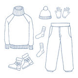 Winter clothes set,Outline hand drawing doodles Stock Photos