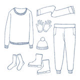 Winter clothes set,Outline hand drawing doodles Royalty Free Stock Photos