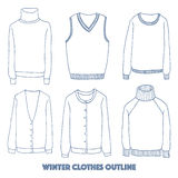 Winter clothes set,Outline hand drawing doodles. Vector illustration Stock Photo