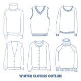 Winter clothes set,Outline hand drawing doodles. Vector illustration Stock Illustration