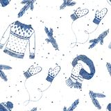 Winter clothes set seamless pattern with spruce branches and snowflakes. Blue texture hand drawn cute set .Christmas background,. Wallpaper, packaging design stock illustration