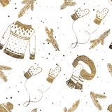 Winter clothes set seamless pattern with spruce branches and snowflakes. Gold texture Christmas background, wallpapers, gift. Paper vector illustration