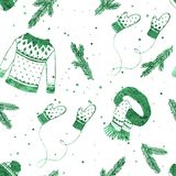 Winter clothes set seamless pattern with spruce branches and snowflakes. Green texture. Hand drawn cute Christmas background,. Wallpaper, packaging design vector illustration