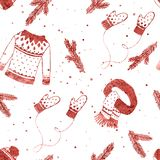 Winter clothes set seamless pattern with spruce branches and snowflakes.Red hand drawn Christmas background, wallpaper, packaging. Design royalty free illustration
