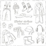 Winter clothes set. Vintage illustration for identity, design Royalty Free Stock Photography