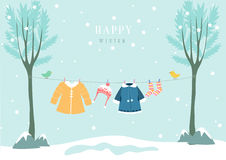 Winter clothes in snow forest, Design for baby cards. Winter clothes in snow forest royalty free illustration