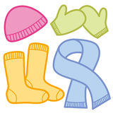 Winter Clothing Cap Socks Mittens Scarf Royalty Free Stock Photos