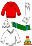 Winter clothing - coloring book Stock Photography
