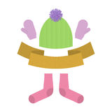 Winter clothing set. Warm woolen mittens and socks. Knitted clot Royalty Free Stock Image