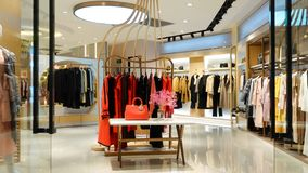 Winter clothing shop interior front stock image
