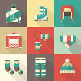 Winter Clothing and Sportswear Icons in Flat Design Royalty Free Stock Photography