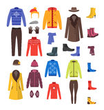Winter Clothing Woman and Man Set. Vector Royalty Free Stock Photos
