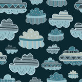 Winter clouds hand drawn seamless  pattern. Cute and fine design Royalty Free Stock Photos
