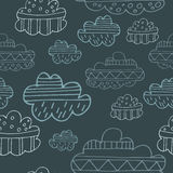 Winter clouds hand drawn seamless  pattern. Cute and fine design Stock Image