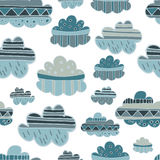 Winter clouds hand drawn seamless  pattern. Cute and fine design Royalty Free Stock Photography