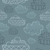 Winter clouds hand drawn seamless  pattern. Cute and fine design Royalty Free Stock Photo