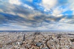 Winter clouds Paris cityscape Stock Photography