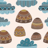 Winter clouds and rocks hand drawn seamless  pattern. Cute and fine design Stock Images