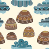 Winter clouds and rocks hand drawn seamless  pattern. Cute and fine design Stock Photography