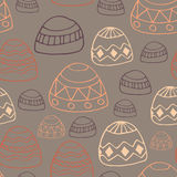 Winter clouds and rocks hand drawn seamless  pattern. Cute and fine design Royalty Free Stock Photo