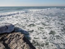 Winter coast of the Caspian Sea. Rocky winter coast of the Caspian Sea stock image