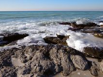 Winter coast of the Caspian Sea. Rocky winter coast of the Caspian Sea stock image