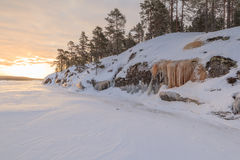 Winter, coast of the frozen lake. Stock Photography