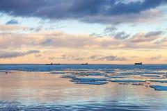 Winter coastal landscape with big ice fragments Stock Photo