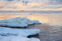 Winter coastal landscape with big ice fragments Royalty Free Stock Photo