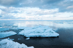 Winter coastal landscape with floating big ice fragments Stock Images