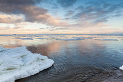 Winter coastal landscape with ice on the beach Royalty Free Stock Photography