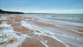 Winter coastal landscape with snow on the beach stock video