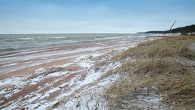 Winter coastal landscape with snow on the beach stock video footage